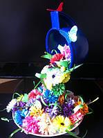 Летающая чашка с цветами  ручная работа в технике квиллинг