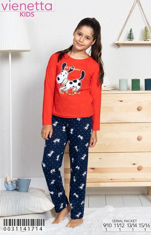Трикотажная пижама с принтом пятнистого щенка для девочек 9-16 лет