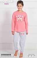 Трикотажная пижама с принтом зайчат для девочек 3-8 лет