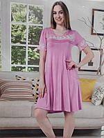 Домашняя одежда для девушек и женщин, розовая вискозная ночная рубашка для сна,кружево, размер 50(XL).