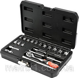 Набор головок торцевых с трещеткой YATO 1/4'' М3.5-14 мм 20 предметов