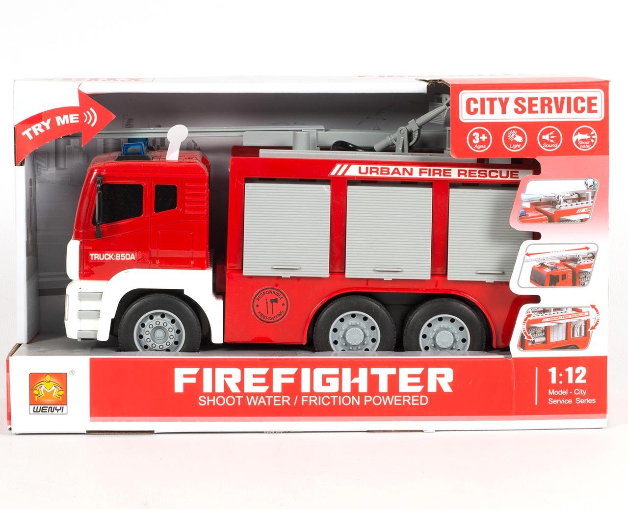 Пожарная машина с водяной помпой, свет, звук, выдвижная лестница