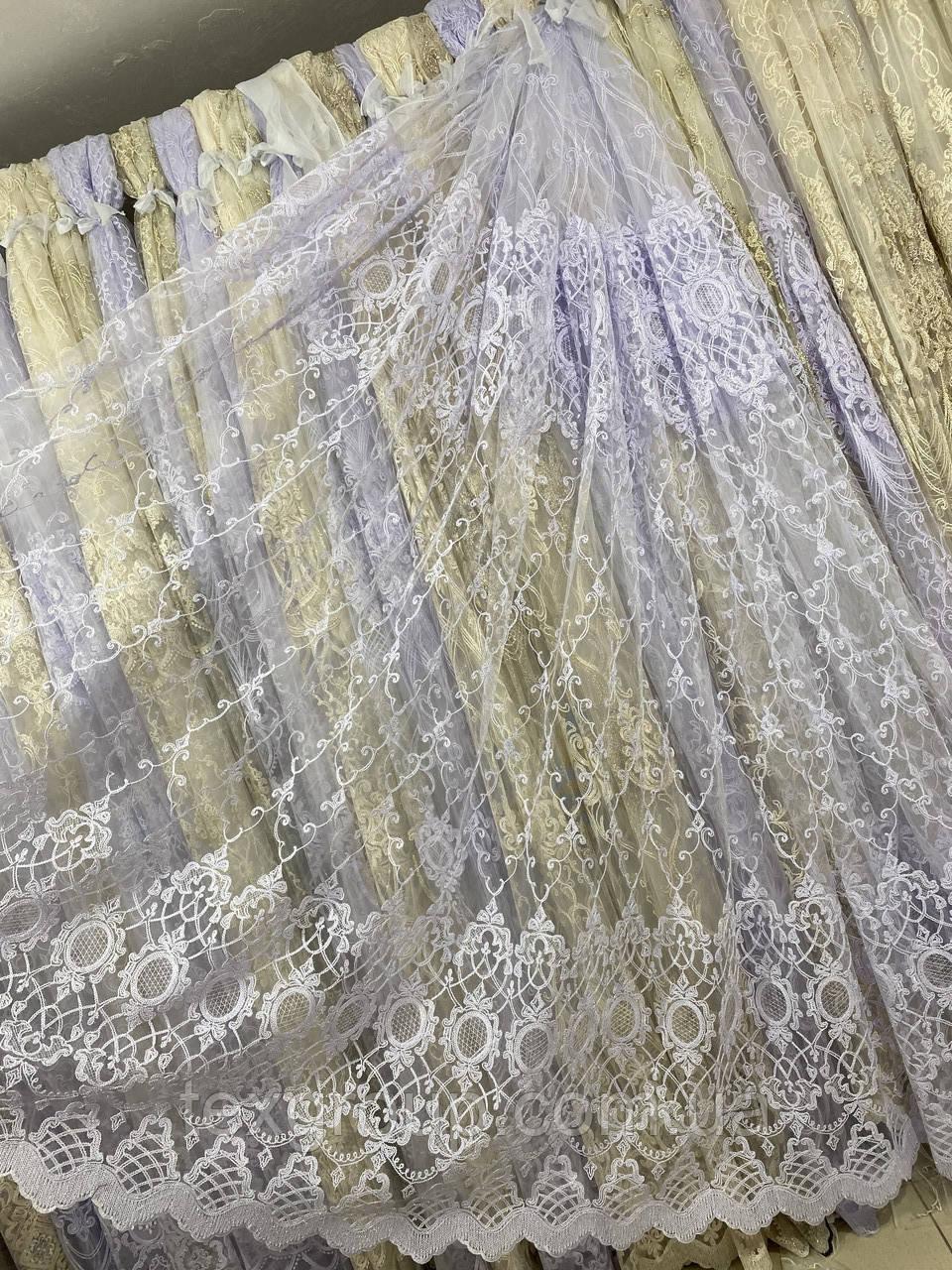Красивая фатиновая гардина с люрексовой нитью №116186 на отрез