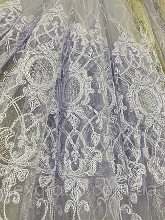 Красивая фатиновая гардина с люрексовой нитью №116186 на отрез, фото 2