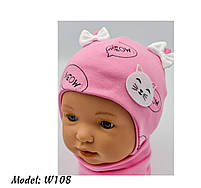 Шапка трикотажная для девочек киса ушки бантик на завязках Размер 38-40 см Возраст 0-3 месяцев, фото 10