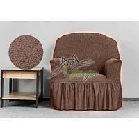 Чехол жаккардовый на кресло с оборкой, рюшами, юбкой Venera капучино