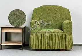 Жакардовий чохол на крісло з оборкою, рюшами, спідницею Venera зелений