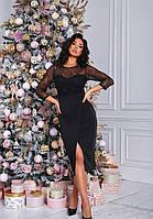 Вечернее черное платье с запахом и сеткой батал