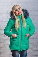 Куртка женская зима удлиненная мята, фото 1