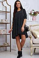 Платье 12-1330 - черный/горох: S M L XL, фото 1