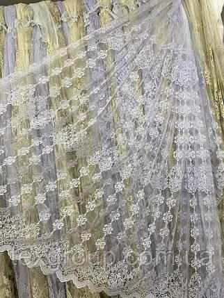Красивая фатиновая гардина с кордовой нитью №116197 на отрез, фото 2