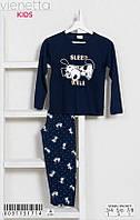 Трикотажная пижама с принтом спящего щенка для девочек 3-8 лет