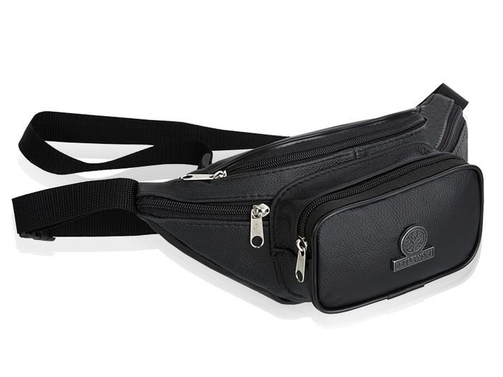 Чоловіча шкіряна сумочка на пояс Betlewski 30 х 13,5 х 7 (BSG-02) - чорна