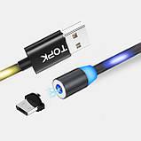 Магнитный кабель для зарядки USB 1m Topk Z-line MicroUSB светящийся LED Black (3872-10896), фото 4