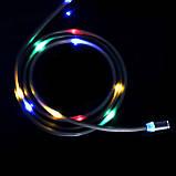 Магнитный кабель для зарядки USB 1m Topk Z-line MicroUSB светящийся LED Black (3872-10896), фото 5