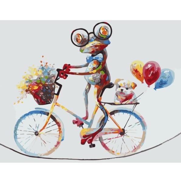 Картина по номерам Яркое лягушонок на велосипеде, 40х50 см