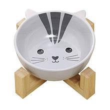 Миска для котов и собак керамическая Taotaopets 115505 Кот на деревянной подставке (5521-18116)
