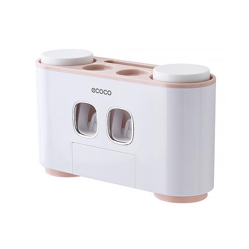 Диспенсер механический для зубной пасты держатель зубных щеток ECOCO E1802 Pink (5575-18791)