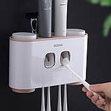 Диспенсер механический для зубной пасты держатель зубных щеток ECOCO E1802 Pink (5575-18791), фото 4