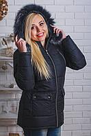 Куртка женская зима удлиненная черная, фото 1