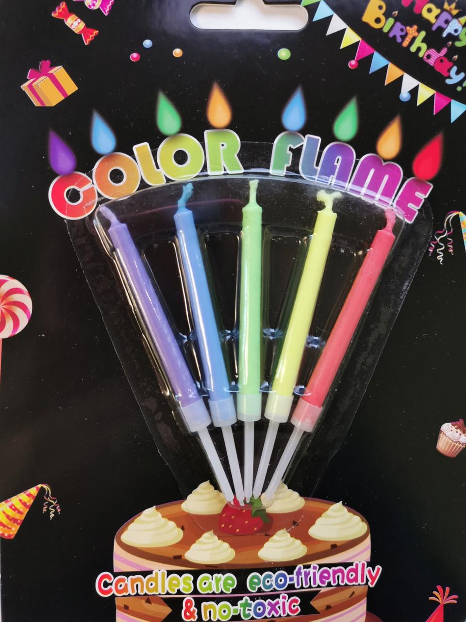 Свечи для торта  5 шт  с разноцветным пламенем 200216