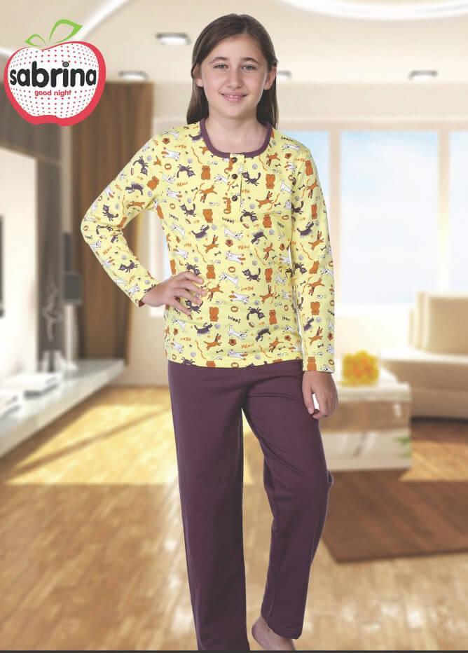 Байковая жёлтая пижама с принтом котят для девочек 3-11 лет