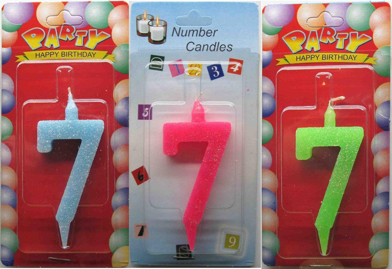 """Свечи для торта цветные  Цифра """"7"""""""
