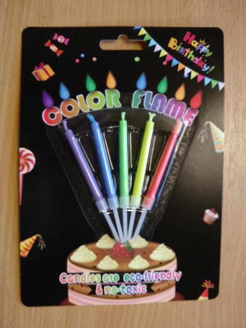 Свечи для торта  5 шт  с разноцветным пламенем