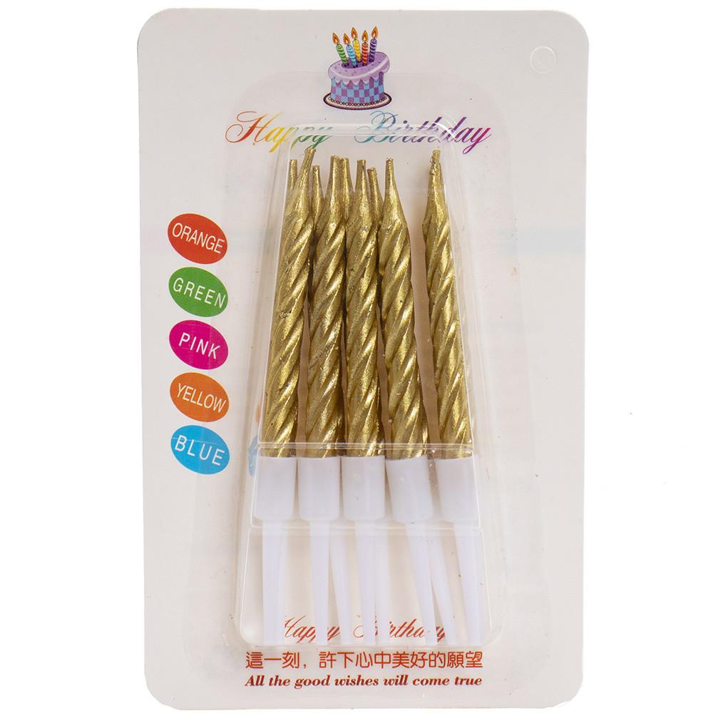Свечи для торта  10 шт  на подставке золото