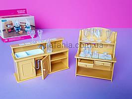 Игровой набор Кухня с мойкой и шкаф с посудой аналог Sylvanian Familie для ЛОЛ