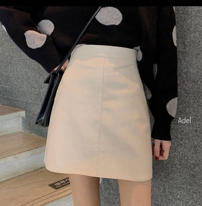 Стильная мини юбка из эко-кожи на флисе, фото 2