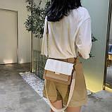 Женская классическая сумочка через плечо кросс-боди на ремешке цепочке на три отдела бежевая коричневая, фото 4