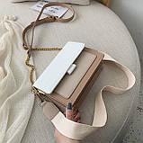 Женская классическая сумочка через плечо кросс-боди на ремешке цепочке на три отдела бежевая коричневая, фото 9