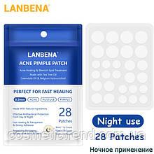 Пластирі/патчі від прищів лікувальні невидимі нічні Lanbena Acne Pimple Patch Night 28 шт.