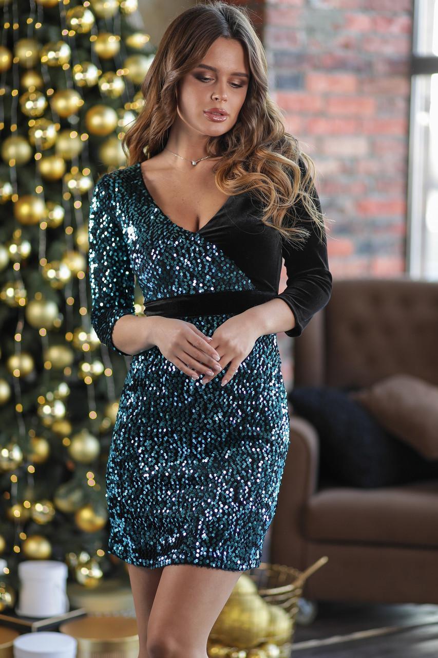 Нарядное женское платье Королевский бархат с пайетками Размер 46 48
