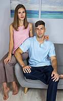 Комплект домашней одежды для мужчины и женщины из натурального льна