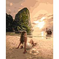 """Картина по номерам. """"Влюбленная в море"""" 40*50см KHO4592, картины по номерам,раскраски с номерами,рисование по"""