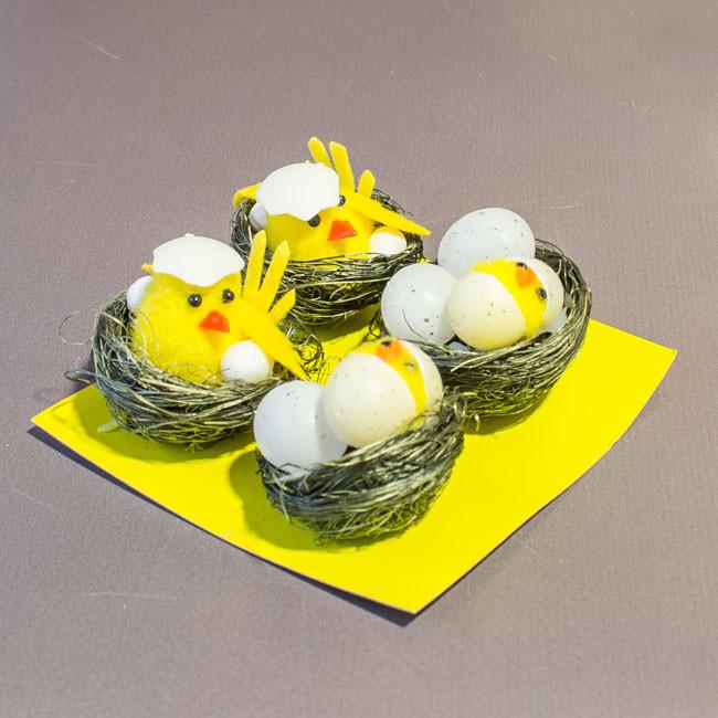 Пасхальный декор набор в пакете цыплята 4 шт