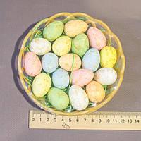Пасхальный декор набор в корзинке яйца с поталью 3,5 см
