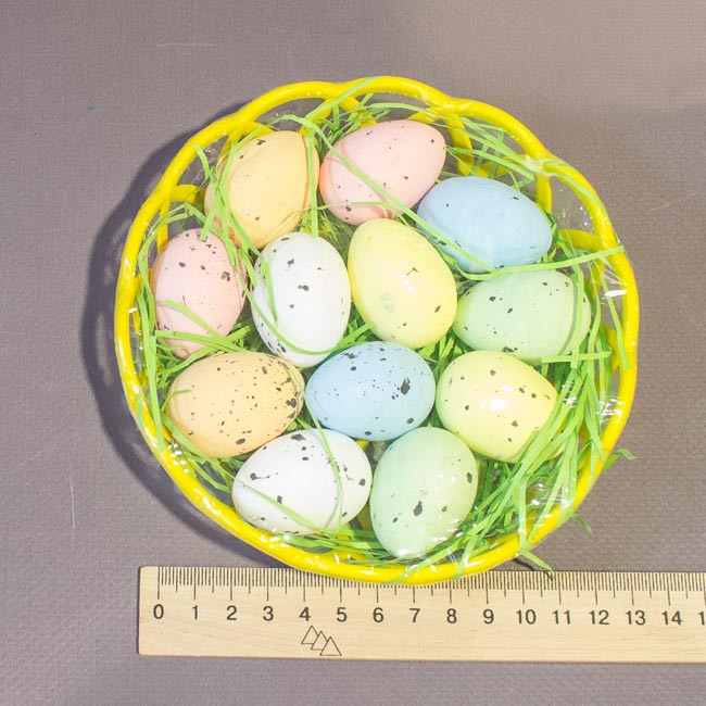 Пасхальный декор набор в корзинке яйца перепелиные 4 см