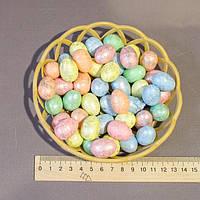 Пасхальный декор набор в корзинке яйца с поталью 2,8 см