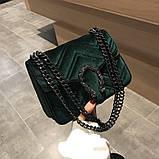 Женская большая сумка на толстой цепочке с подковой велюровая на три отдела черная, фото 8