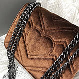 Женская большая сумка на толстой цепочке с подковой велюровая на три отдела черная, фото 6