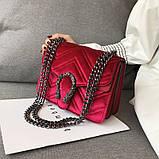 Женская большая сумка на толстой цепочке с подковой велюровая на три отдела черная, фото 10