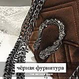 Женская большая сумка на толстой цепочке с подковой велюровая на три отдела черная, фото 5
