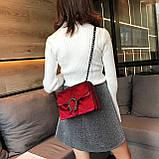 Женская большая сумка на толстой цепочке с подковой велюровая на три отдела черная, фото 7