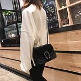 Женская большая сумка на толстой цепочке с подковой велюровая на три отдела черная, фото 9