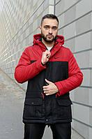 Парка мужская зимняя  Winter Parka с капюшоном теплая, куртка удлиненная красная