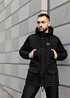 Парка мужская зимняя Winter Parka с капюшоном, теплая куртка удлиненная черная