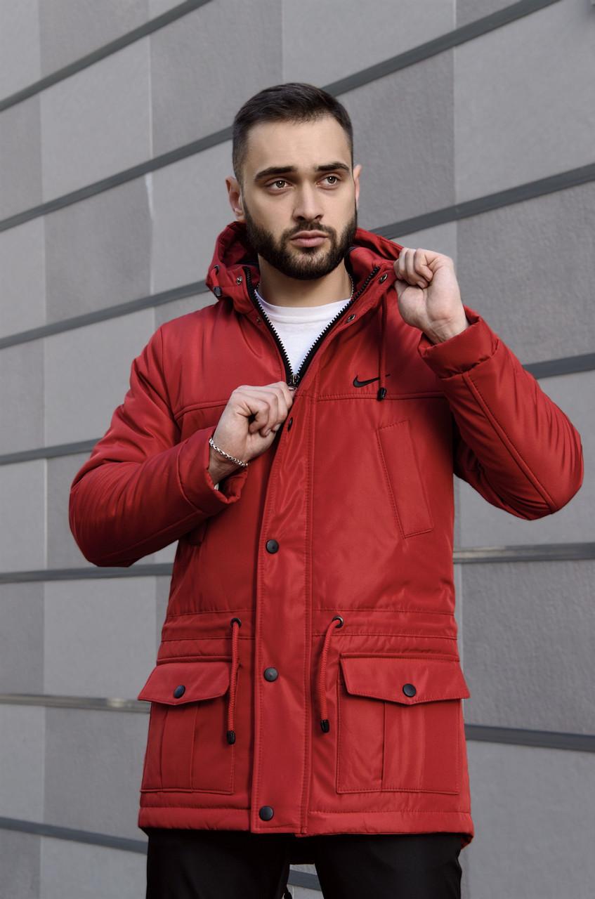 Парку чоловіча зимова з капюшоном тепла, куртка подовжена Winter Parka червоний